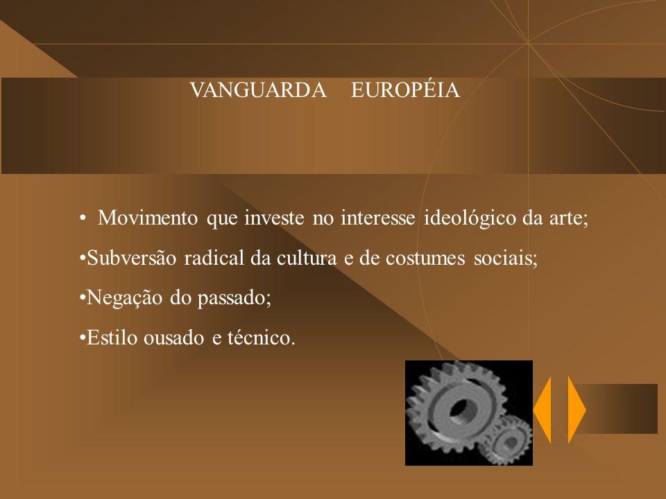 VANGUARDA EUROPÉIA Movimento que investe no interesse ideológico da arte; Subversão radical da cultura e de costumes sociais;