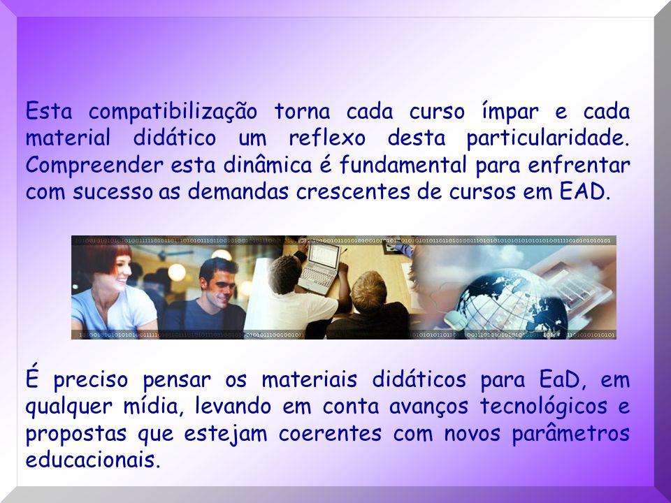 Esta compatibilização torna cada curso ímpar e cada material didático um reflexo desta particularidade. Compreender esta dinâmica é fundamental para enfrentar com sucesso as demandas crescentes de cursos em EAD.
