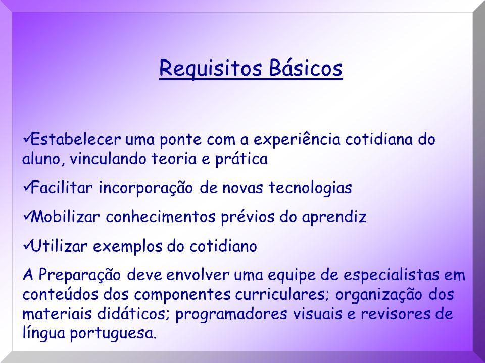 Requisitos Básicos Estabelecer uma ponte com a experiência cotidiana do aluno, vinculando teoria e prática.