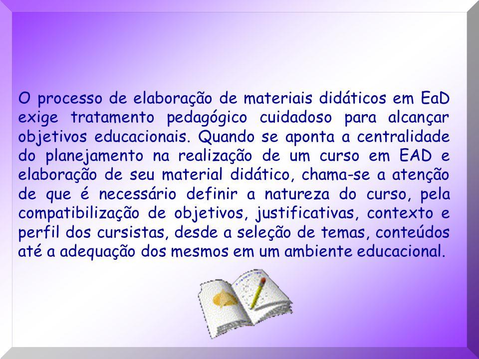 O processo de elaboração de materiais didáticos em EaD exige tratamento pedagógico cuidadoso para alcançar objetivos educacionais.