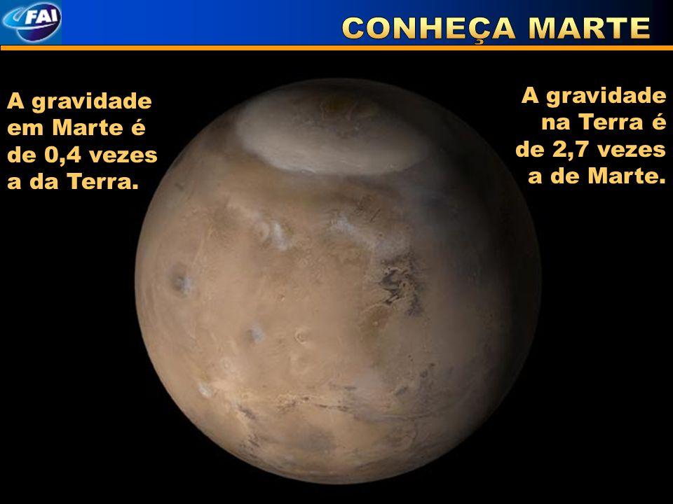CONHEÇA MARTE A gravidade na Terra é de 2,7 vezes a de Marte.