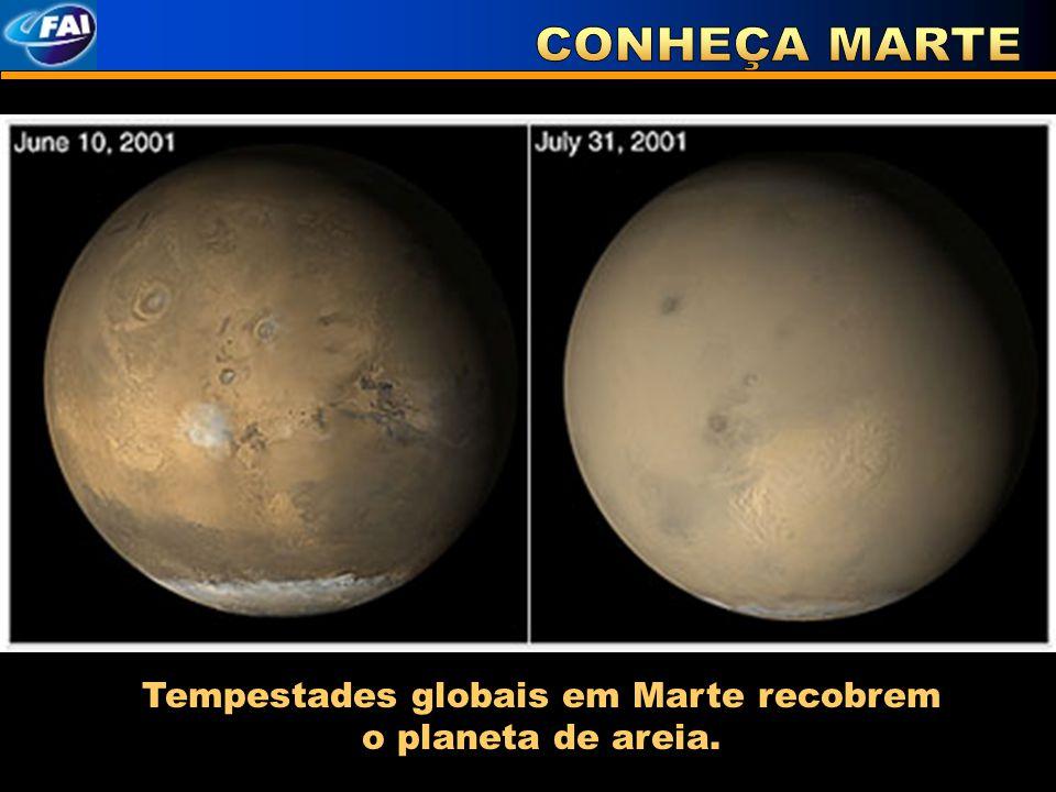 Tempestades globais em Marte recobrem o planeta de areia.
