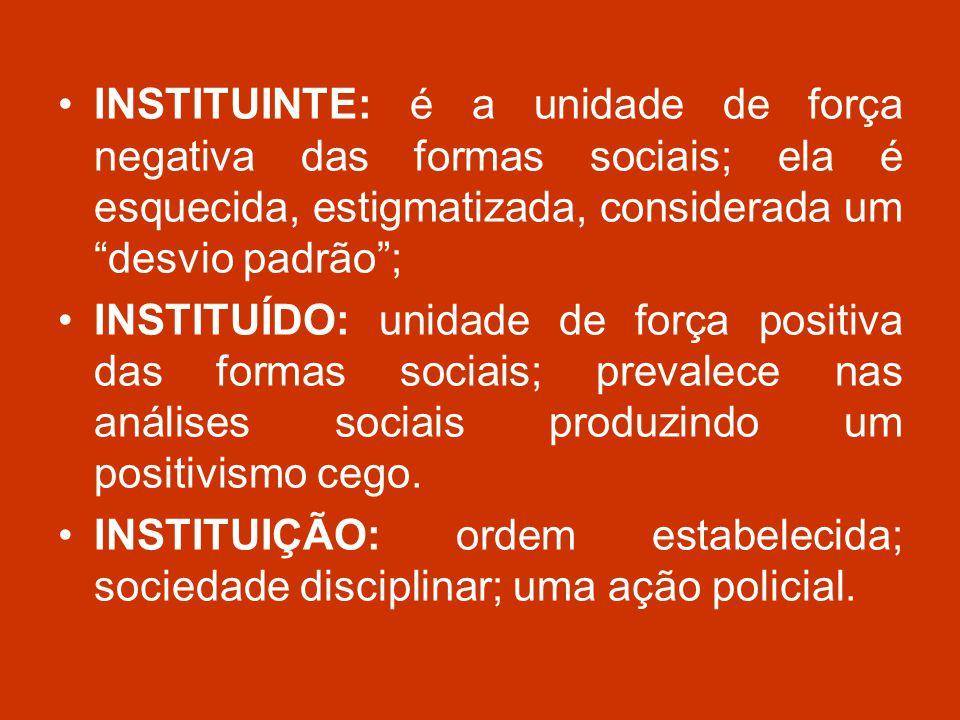 INSTITUINTE: é a unidade de força negativa das formas sociais; ela é esquecida, estigmatizada, considerada um desvio padrão ;