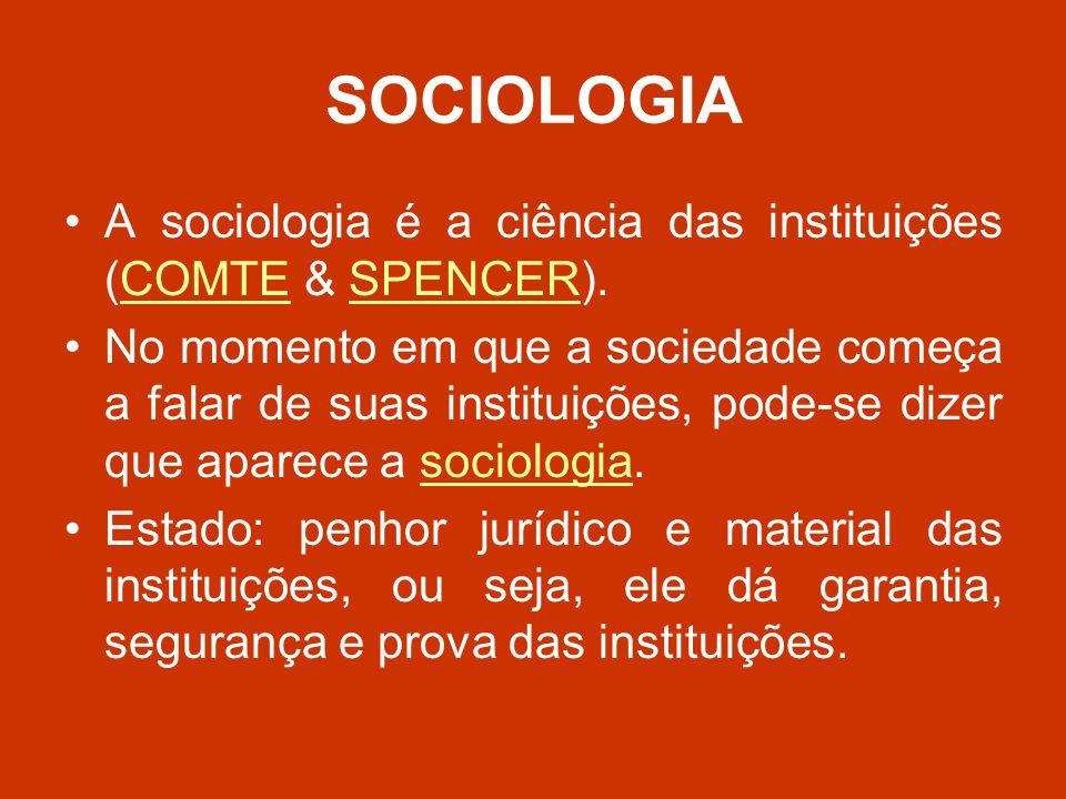 SOCIOLOGIA A sociologia é a ciência das instituições (COMTE & SPENCER).