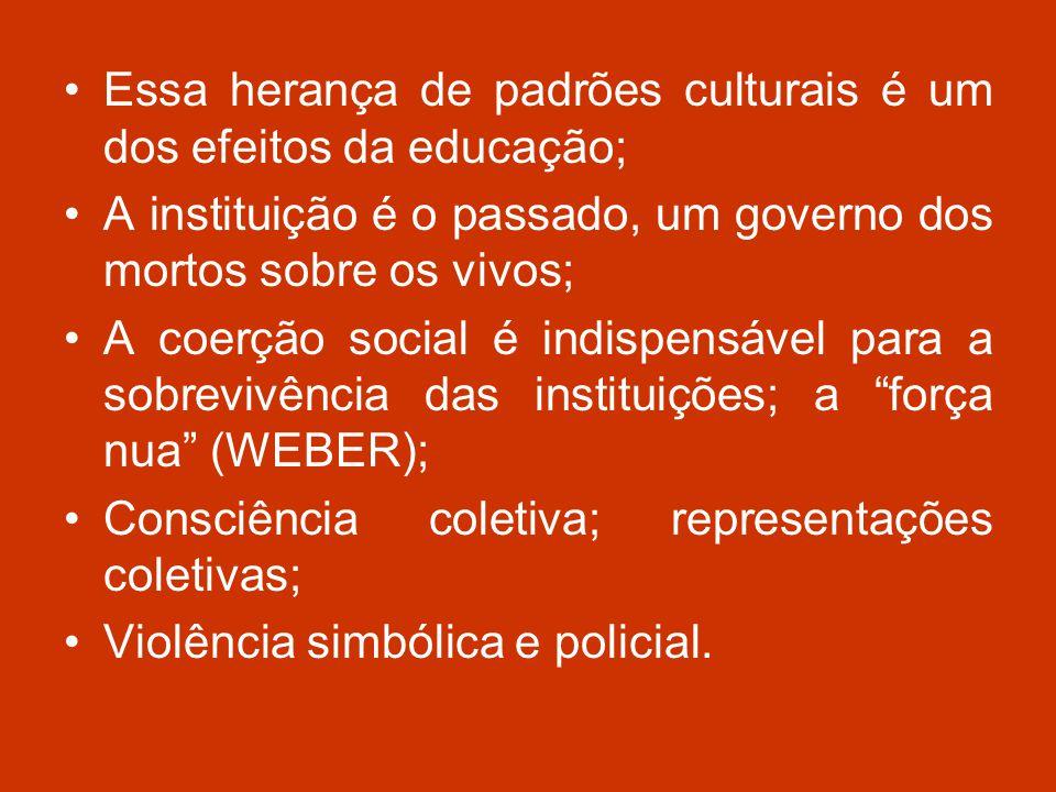 Essa herança de padrões culturais é um dos efeitos da educação;