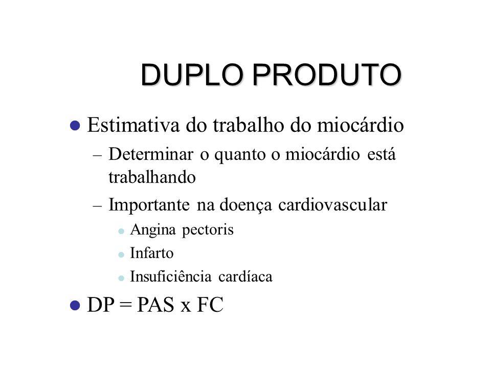DUPLO PRODUTO Estimativa do trabalho do miocárdio DP = PAS x FC