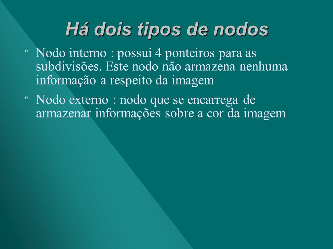 Há dois tipos de nodos Nodo interno : possui 4 ponteiros para as subdivisões. Este nodo não armazena nenhuma informação a respeito da imagem.
