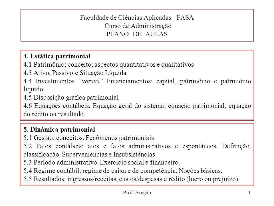 Faculdade de Ciências Aplicadas - FASA Curso de Administração PLANO DE AULAS