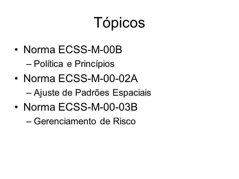 Tópicos Norma ECSS-M-00B Norma ECSS-M-00-02A Norma ECSS-M-00-03B