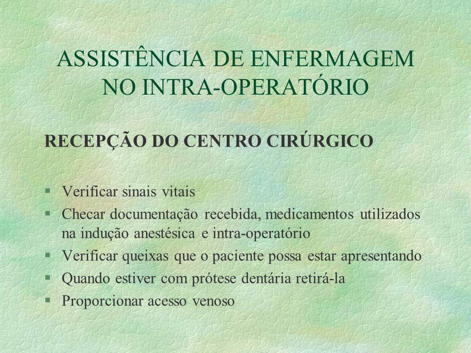 ASSISTÊNCIA DE ENFERMAGEM NO INTRA-OPERATÓRIO