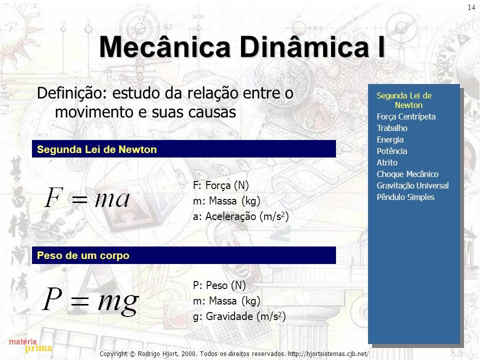 Mecânica Dinâmica I Definição: estudo da relação entre o movimento e suas causas. Segunda Lei de Newton.
