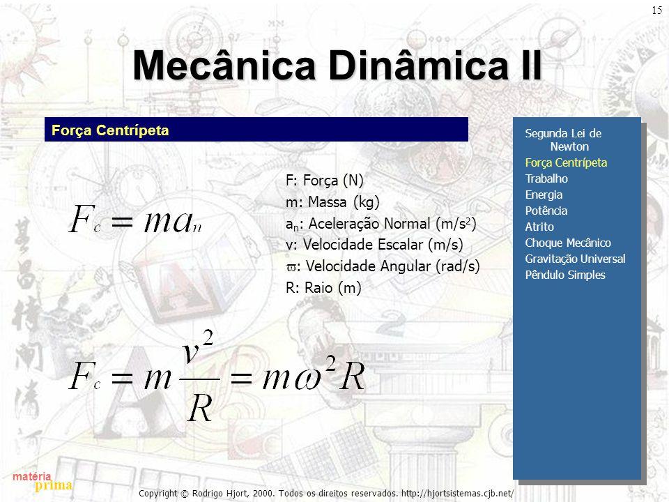 Mecânica Dinâmica II Força Centrípeta F: Força (N) m: Massa (kg)