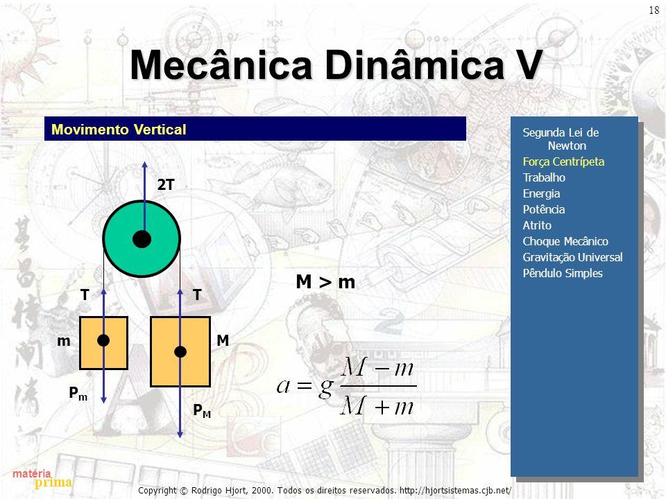 Mecânica Dinâmica V M > m Movimento Vertical PM T 2T m M Pm