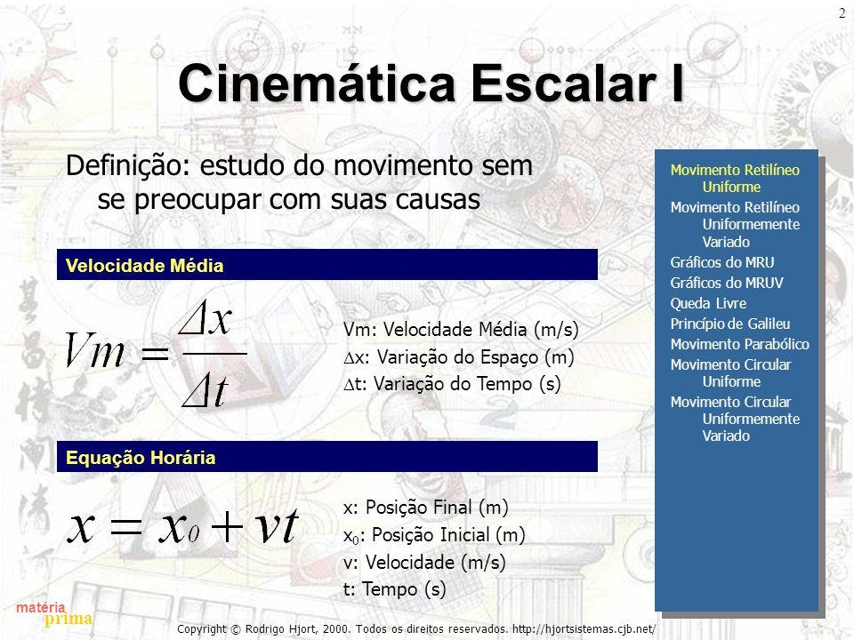 Cinemática Escalar I Definição: estudo do movimento sem se preocupar com suas causas. Movimento Retilíneo Uniforme.