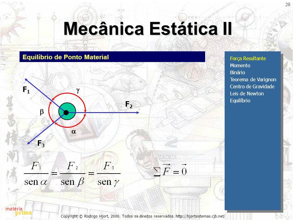 Mecânica Estática II g F1 b a F3 F2 Equilíbrio de Ponto Material