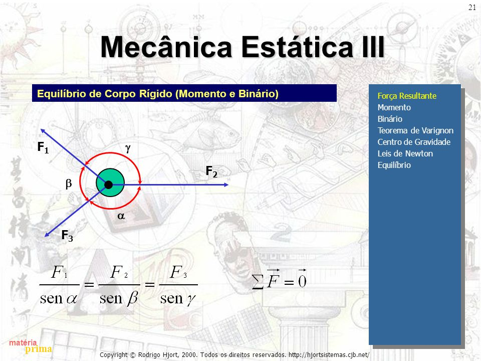 Mecânica Estática III g F1 b a F3 F2