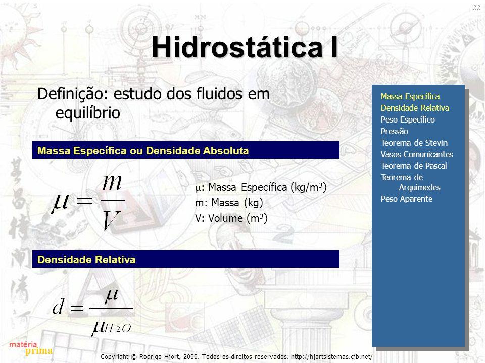 Hidrostática I Definição: estudo dos fluidos em equilíbrio
