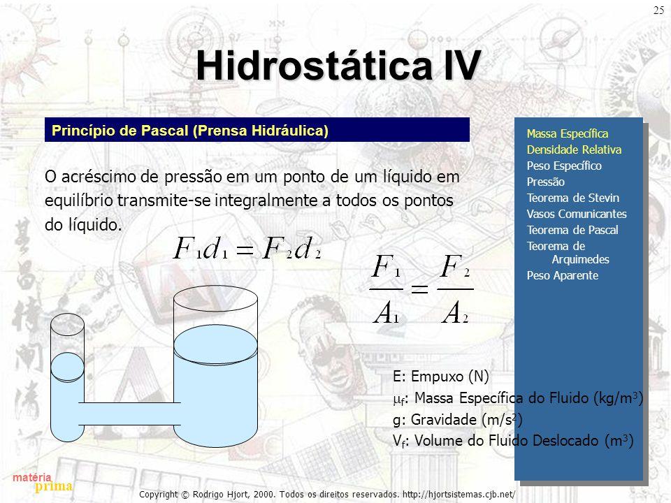 Hidrostática IV O acréscimo de pressão em um ponto de um líquido em