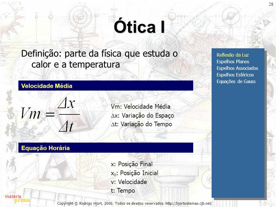 Ótica I Definição: parte da física que estuda o calor e a temperatura