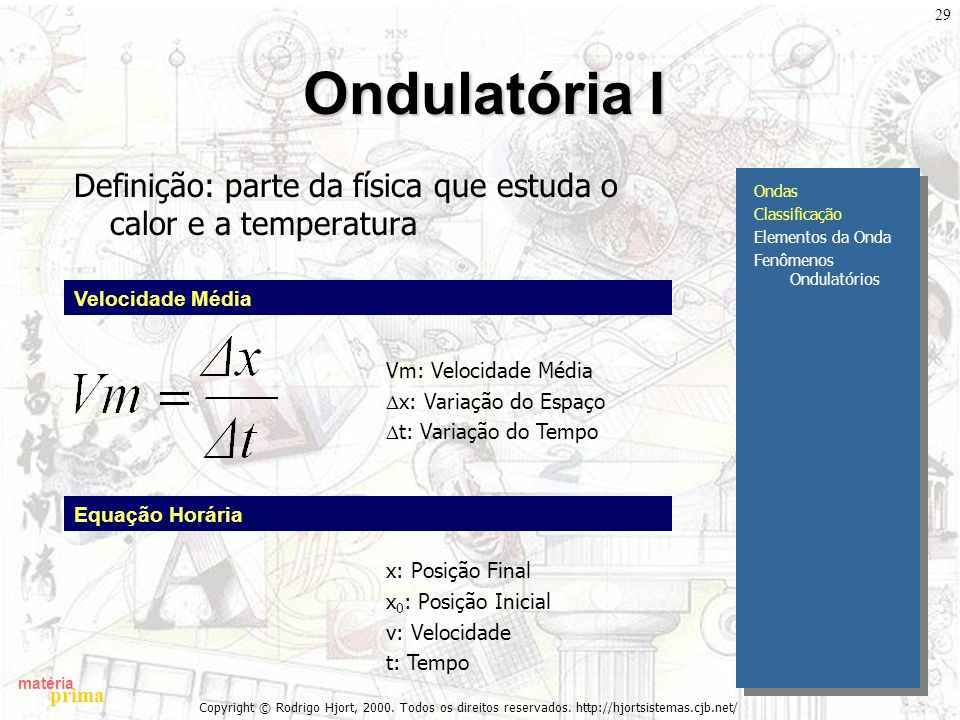 Ondulatória I Definição: parte da física que estuda o calor e a temperatura. Ondas. Classificação.