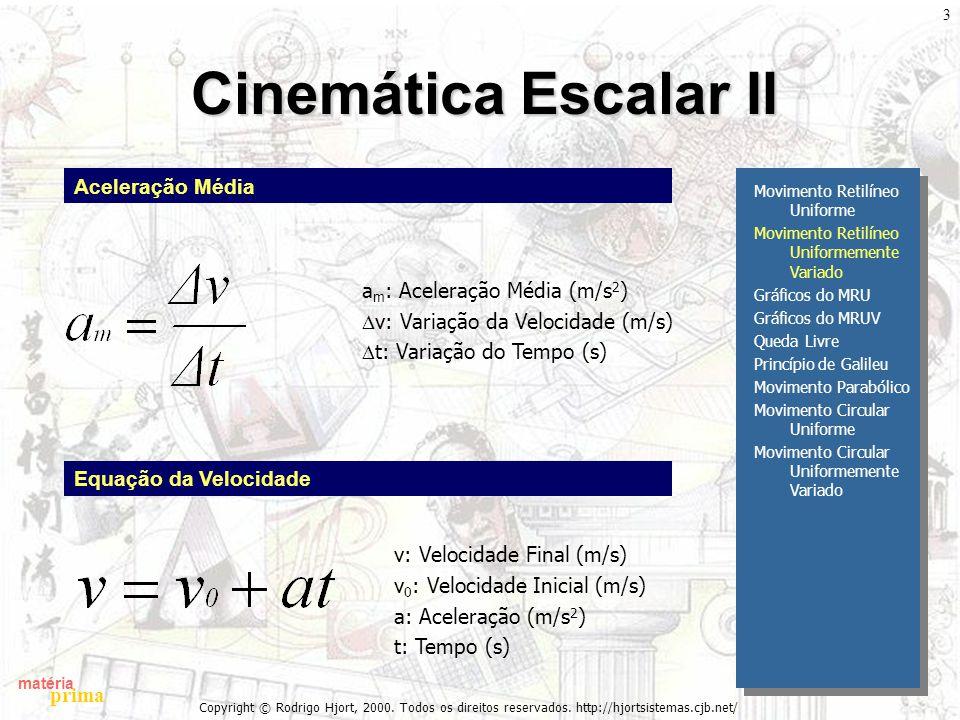 Cinemática Escalar II Aceleração Média am: Aceleração Média (m/s2)