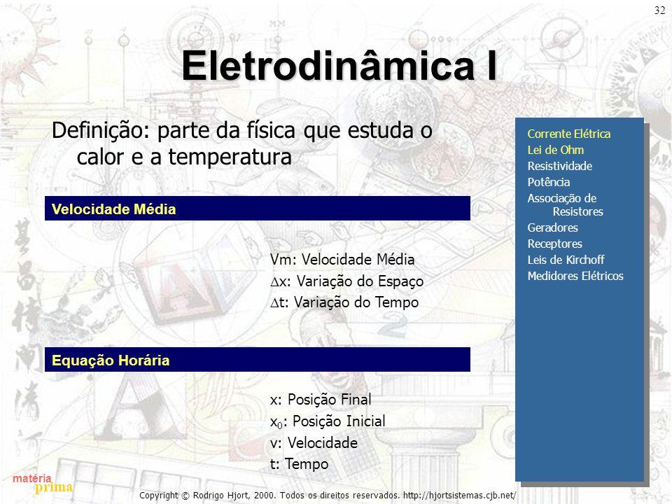 Eletrodinâmica I Definição: parte da física que estuda o calor e a temperatura. Corrente Elétrica.