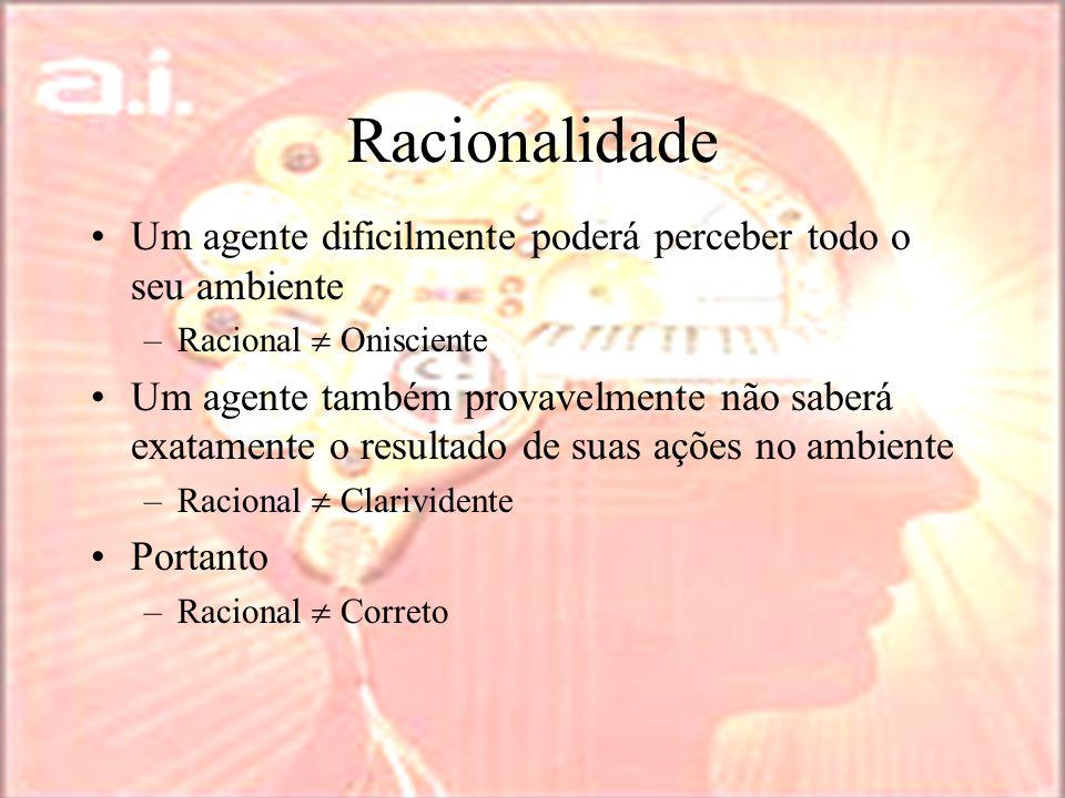 Racionalidade Um agente dificilmente poderá perceber todo o seu ambiente. Racional  Onisciente.