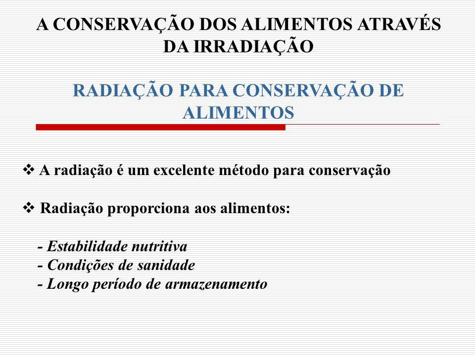 A CONSERVAÇÃO DOS ALIMENTOS ATRAVÉS RADIAÇÃO PARA CONSERVAÇÃO DE