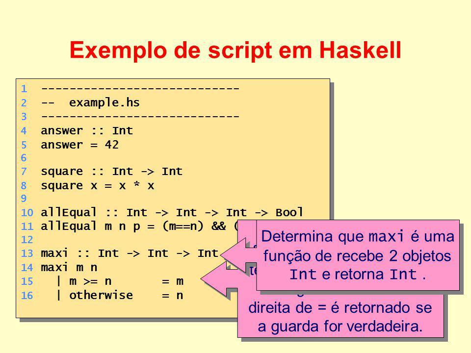 Exemplo de script em Haskell