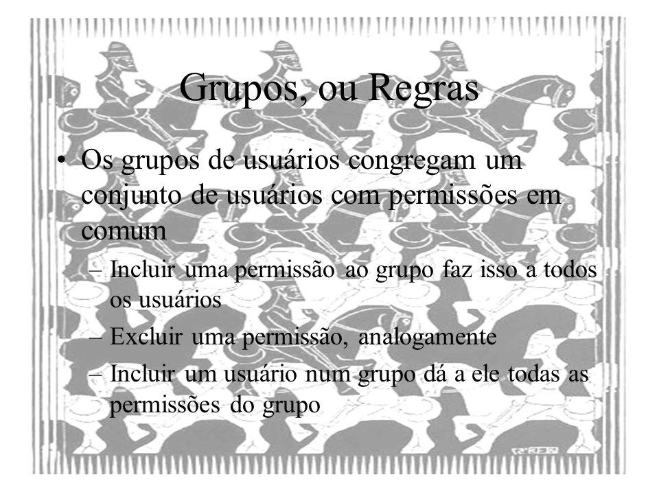 Grupos, ou Regras Os grupos de usuários congregam um conjunto de usuários com permissões em comum.
