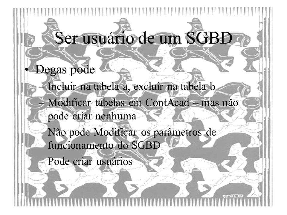 Ser usuário de um SGBD Degas pode
