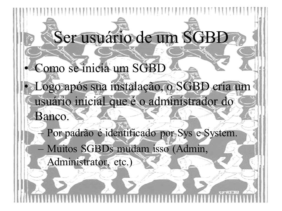 Ser usuário de um SGBD Como se inicia um SGBD