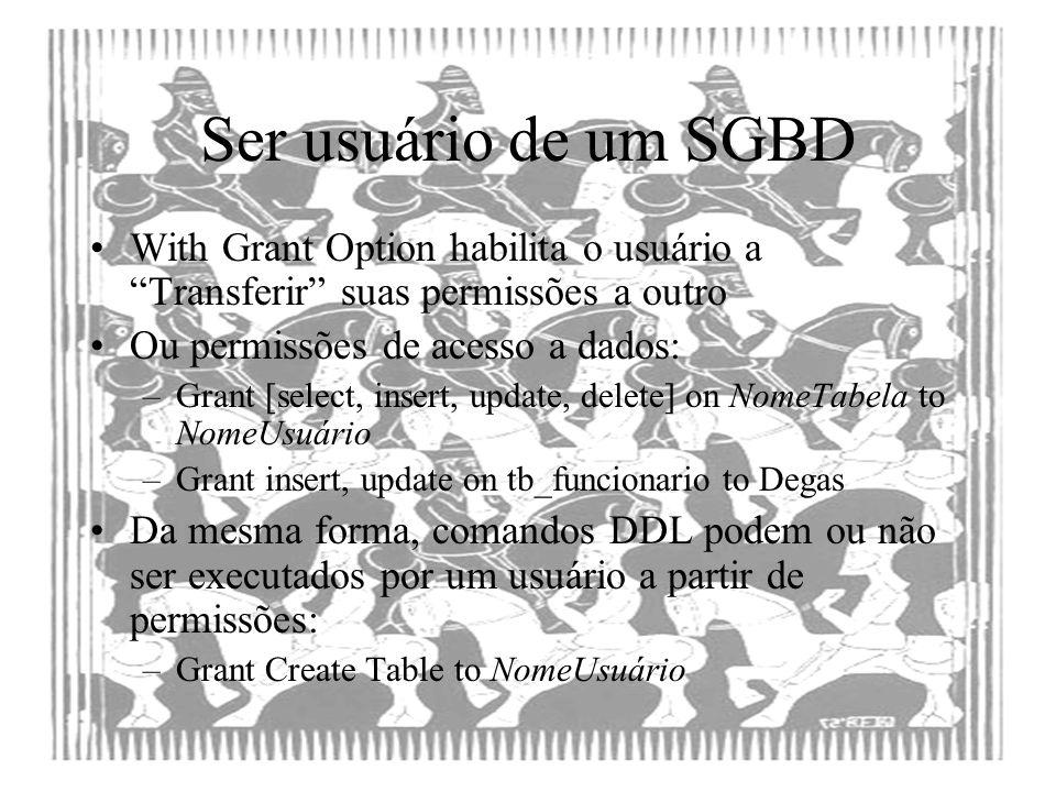Ser usuário de um SGBD With Grant Option habilita o usuário a Transferir suas permissões a outro.