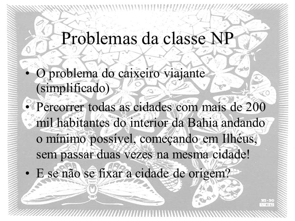Problemas da classe NP O problema do caixeiro viajante (simplificado)
