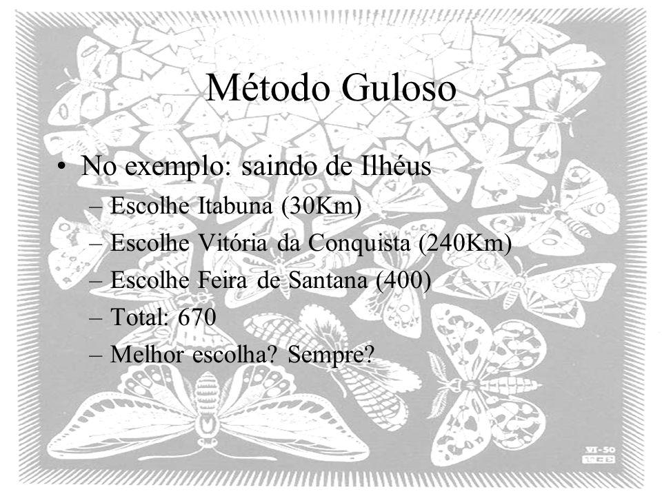 Método Guloso No exemplo: saindo de Ilhéus Escolhe Itabuna (30Km)