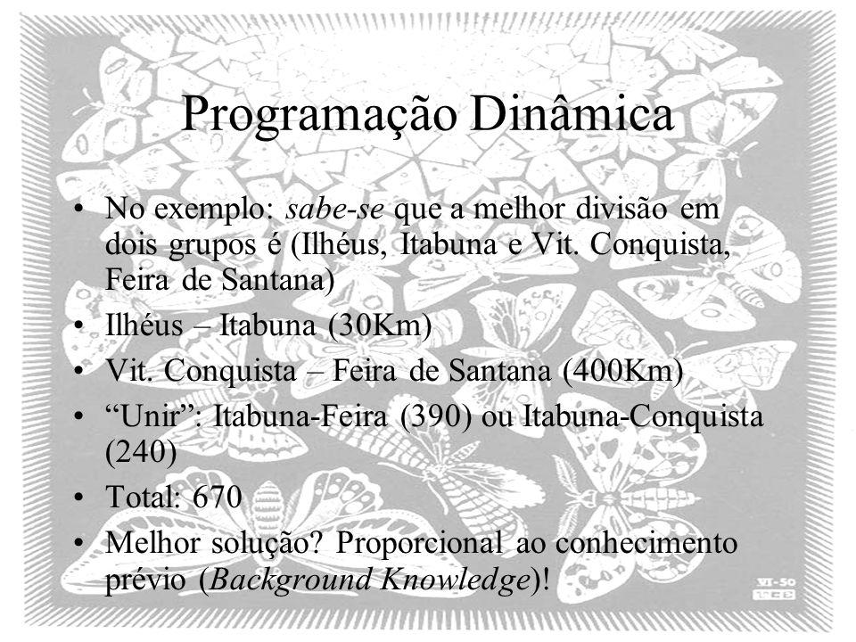 Programação Dinâmica No exemplo: sabe-se que a melhor divisão em dois grupos é (Ilhéus, Itabuna e Vit. Conquista, Feira de Santana)