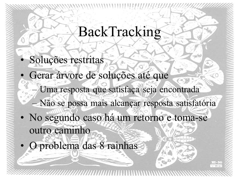 BackTracking Soluções restritas Gerar árvore de soluções até que