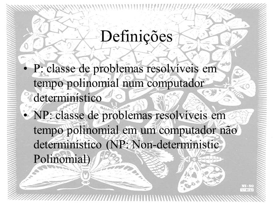 Definições P: classe de problemas resolvíveis em tempo polinomial num computador determinístico.