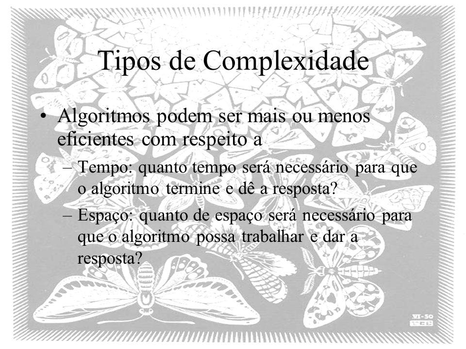 Tipos de Complexidade Algoritmos podem ser mais ou menos eficientes com respeito a.