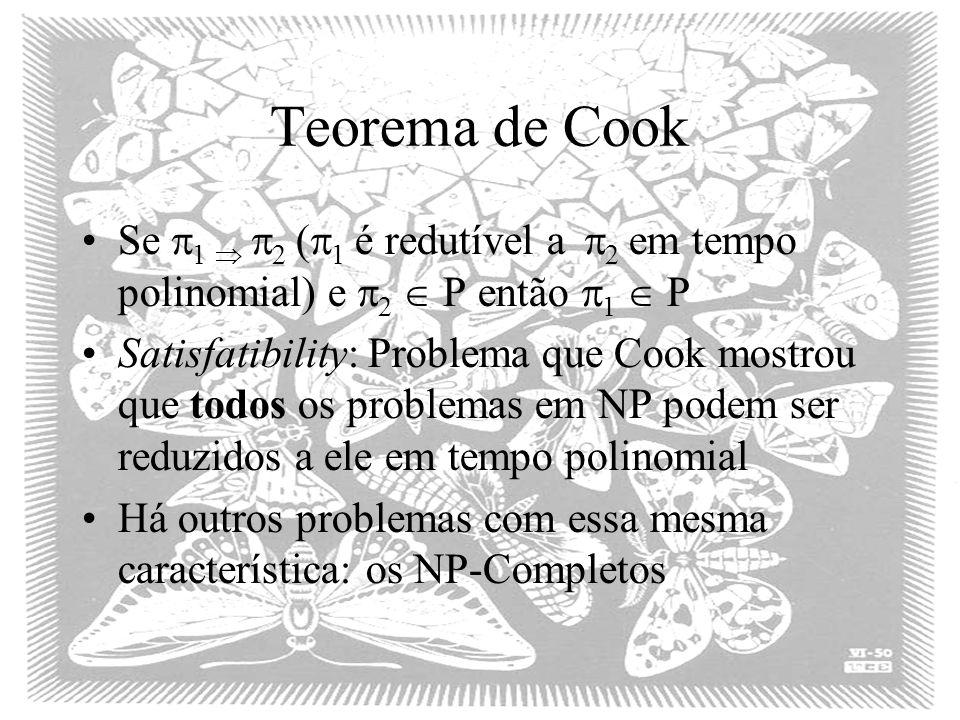 Teorema de Cook Se 1  2 (1 é redutível a 2 em tempo polinomial) e 2  P então 1  P.