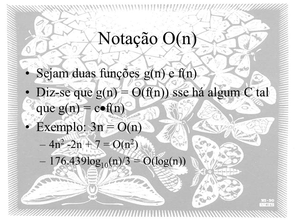 Notação O(n) Sejam duas funções g(n) e f(n)