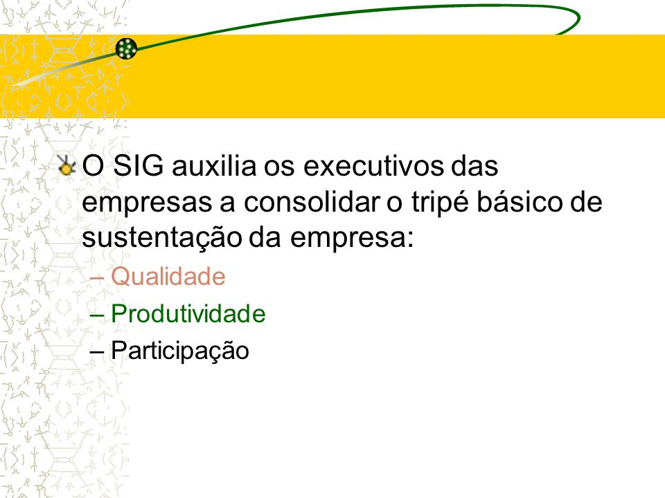 O SIG auxilia os executivos das empresas a consolidar o tripé básico de sustentação da empresa: