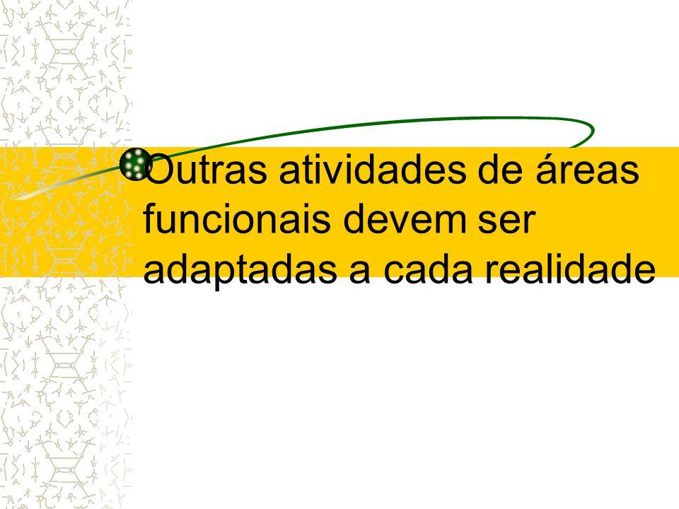 Outras atividades de áreas funcionais devem ser adaptadas a cada realidade