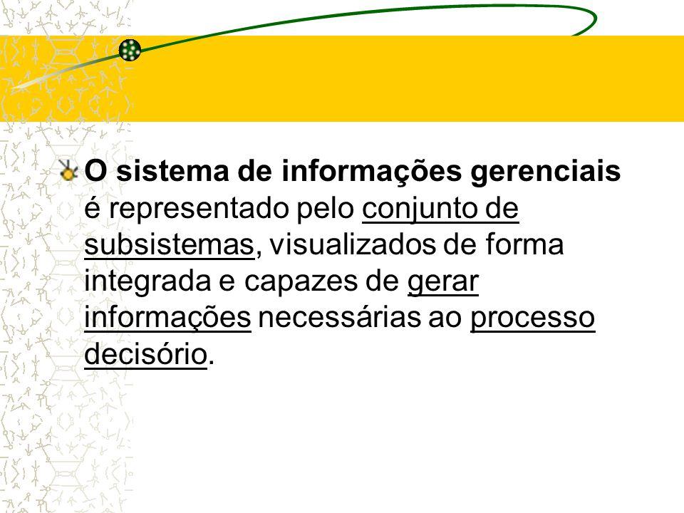 O sistema de informações gerenciais é representado pelo conjunto de subsistemas, visualizados de forma integrada e capazes de gerar informações necessárias ao processo decisório.