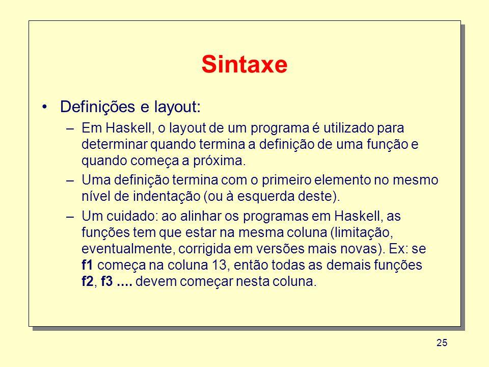 Sintaxe Definições e layout: