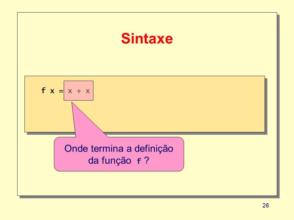 Onde termina a definição da função f