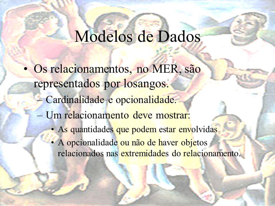 Modelos de Dados Os relacionamentos, no MER, são representados por losangos. Cardinalidade e opcionalidade.