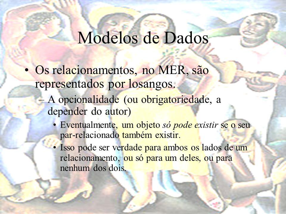 Modelos de Dados Os relacionamentos, no MER, são representados por losangos. A opcionalidade (ou obrigatoriedade, a depender do autor)