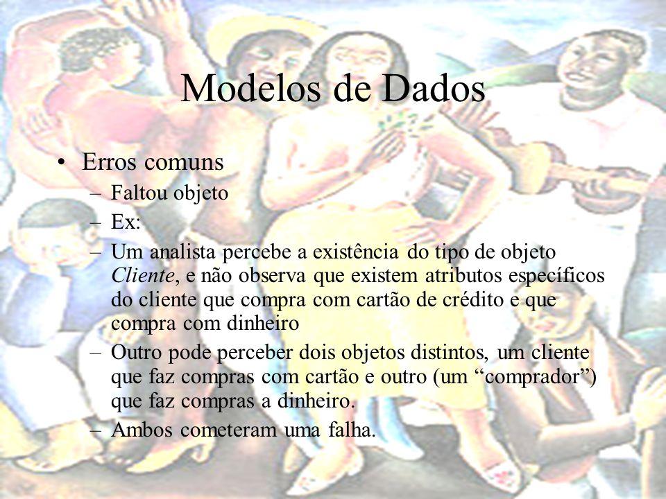 Modelos de Dados Erros comuns Faltou objeto Ex: