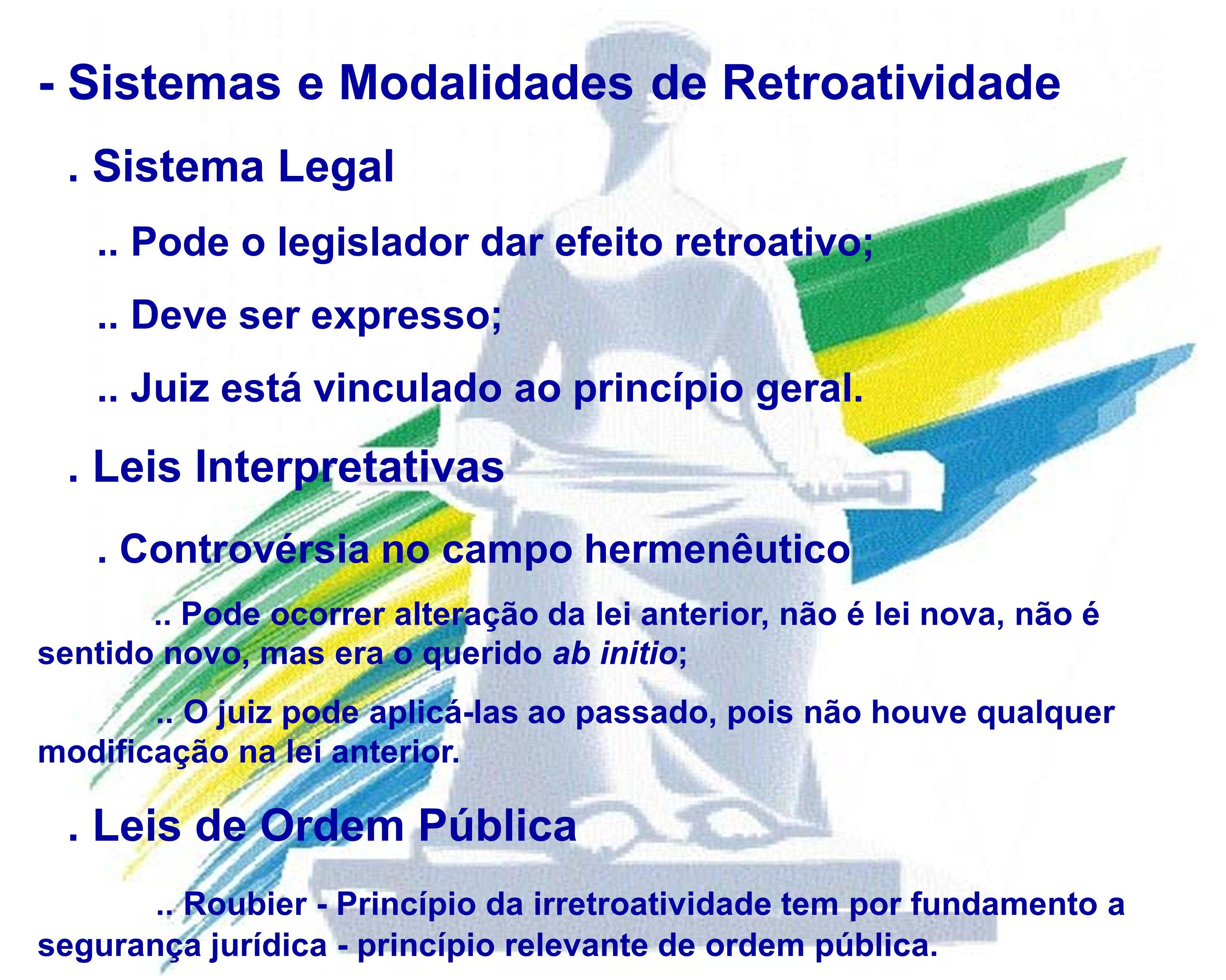 - Sistemas e Modalidades de Retroatividade
